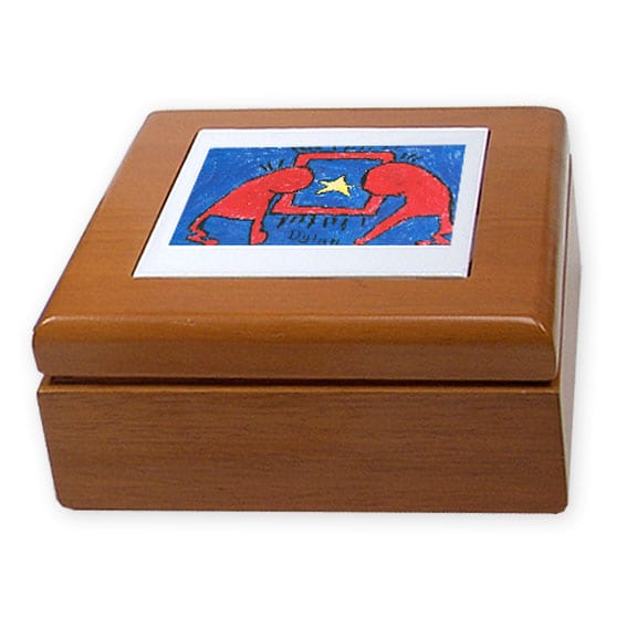 wooden treasure box: an art fundraiser product