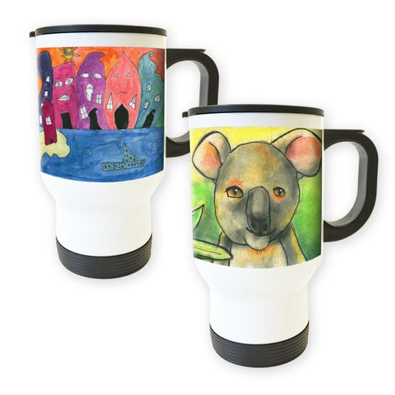 travel mug: art fundraiser products