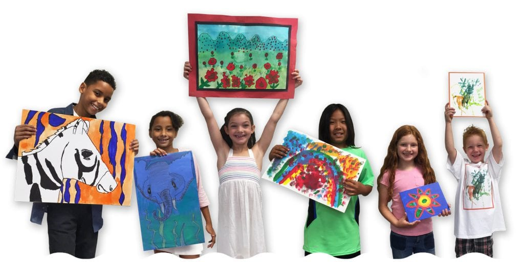 kids with art following our art fundraiser guidelines