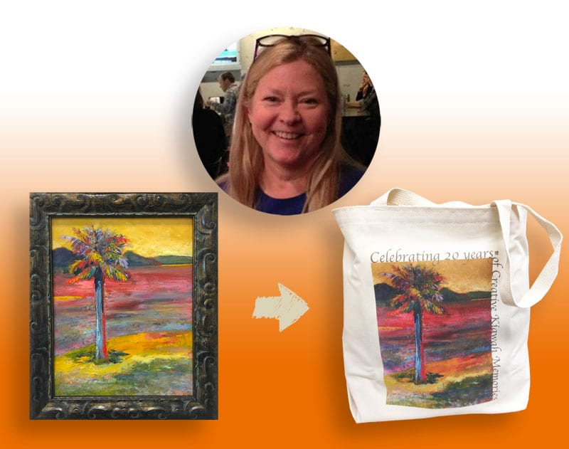 Beverly Turner gave each member of her art club a SilverGraphics canvas tote printed with her original artwork.