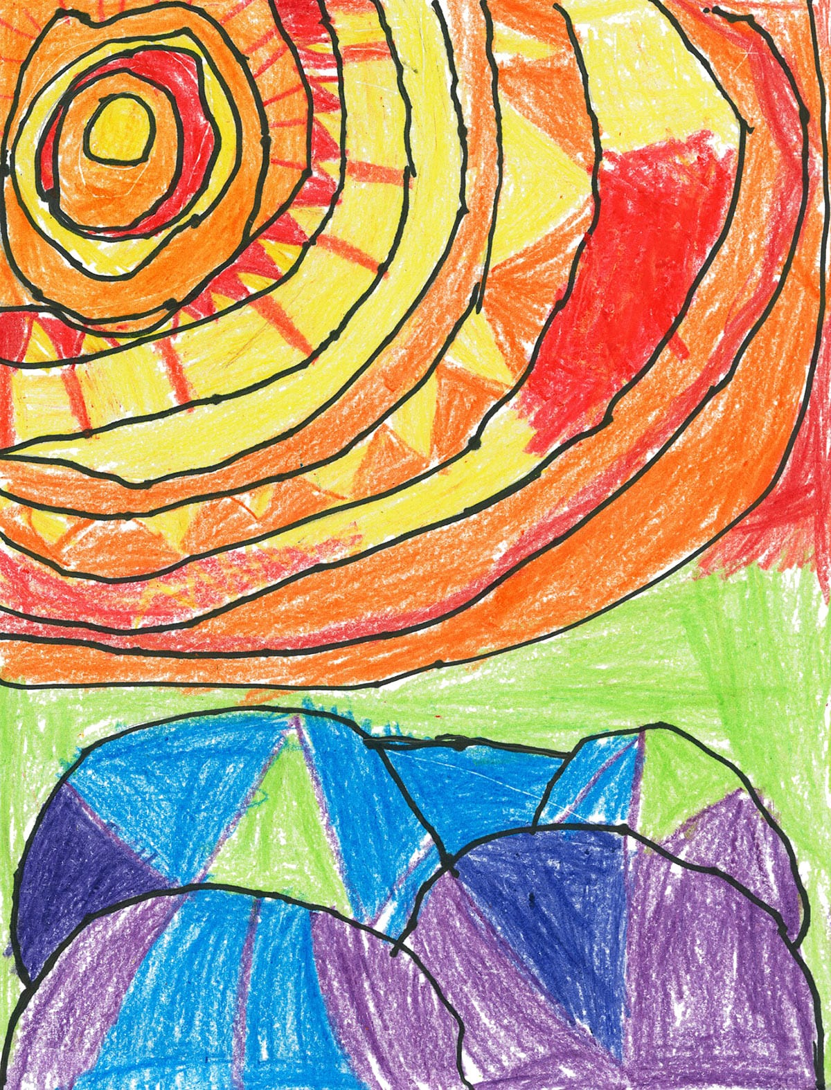 Ted Harrison Inspired Abstract Sunset Artwork by Kyra at Caroline Street Elementary