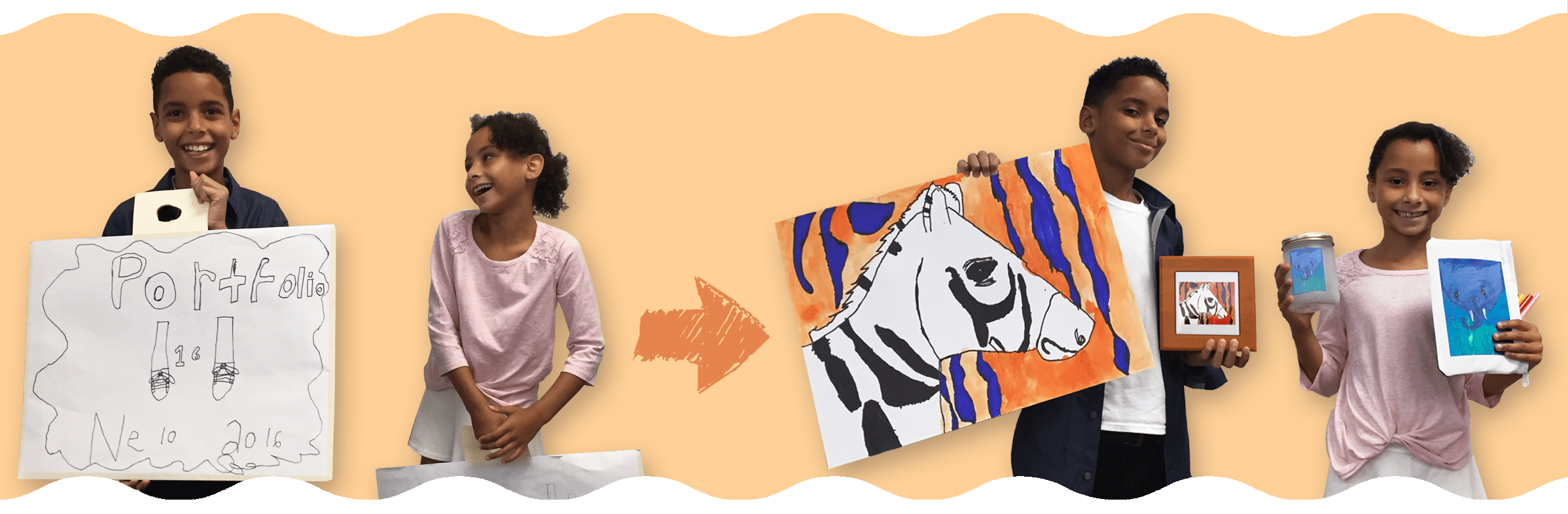 Choose from your child's art portfolio to create personalized products from their art!