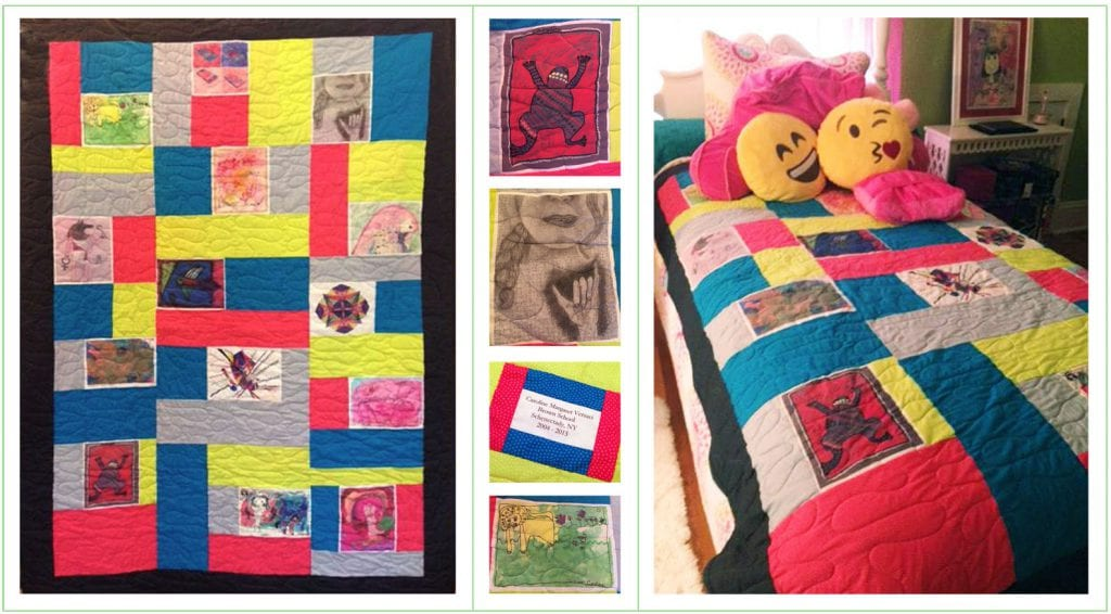 A beautiful quilt created from your child's artwork.