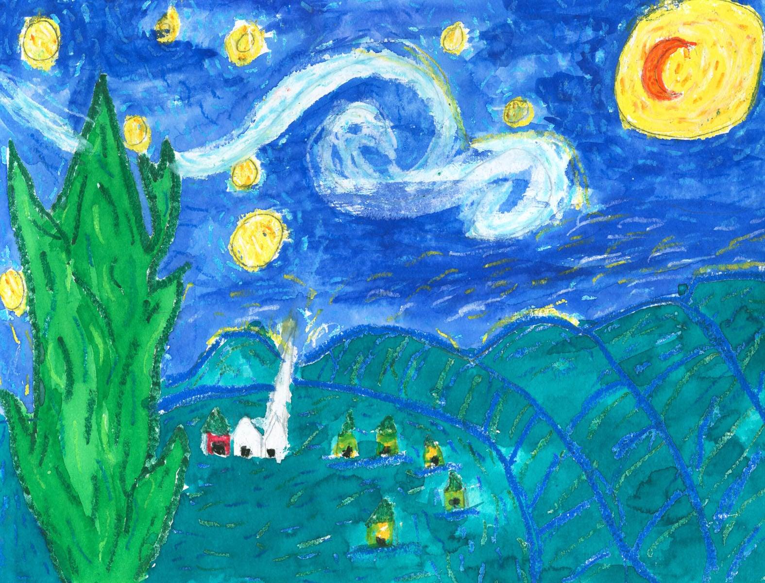 Van Gogh Starry Night? Artwork by Riley at Jeremy Ranch Elementary