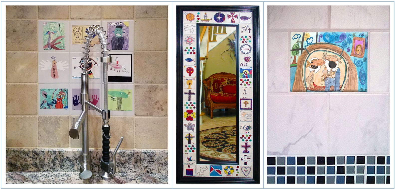 Tile can be imprinted with your art to make awesome creative tile walls and tile installations