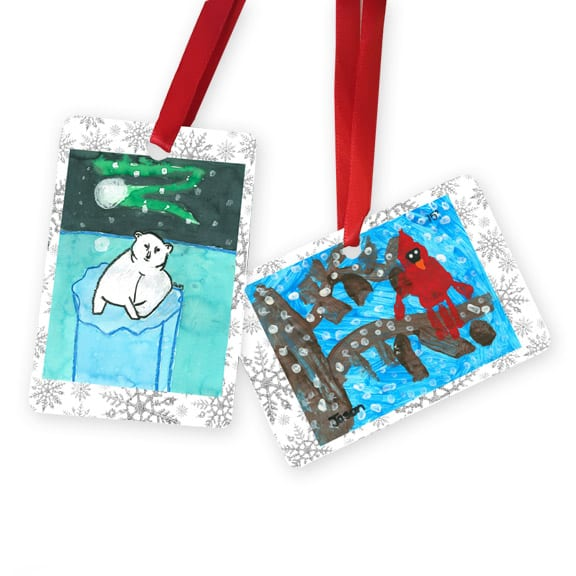two sided ornament: art fundraiser products