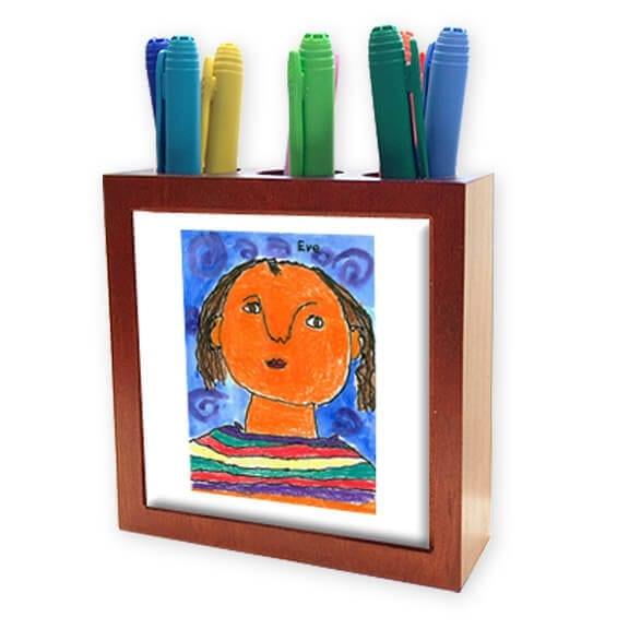 wooden pencil holder: an art fundraiser product