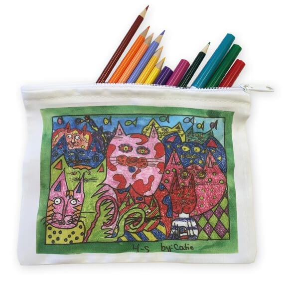 zippered pouch: art fundraiser products